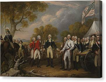 The Surrender Of General Burgoyne At Saratoga October 16 1777 Canvas Print by John Trumbull