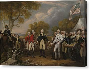 The Surrender Of General Burgoyne At Saratoga October 16 1777 Canvas Print