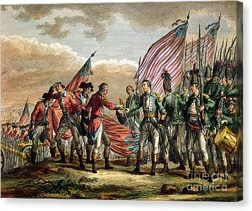 The Surrender Of General John Burgoyne At The Battle Of Saratoga Canvas Print by Godefroy