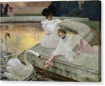 The Swans Canvas Print by Joseph Marius Avy