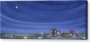 Canvas Print featuring the painting The Sweetest Little Town In The Prairie II by Scott Kirby