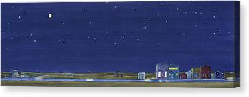 Canvas Print featuring the painting The Sweetest Little Town In The Prairie by Scott Kirby