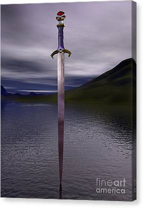 The Sword Excalibur On The Lake Canvas Print