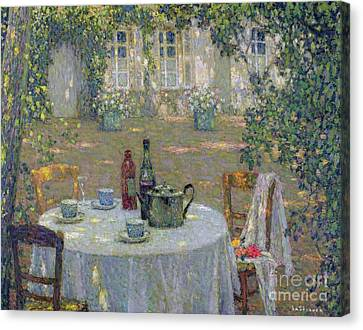 Dappled Light Canvas Print - The Table In The Sun In The Garden by Henri Le Sidaner