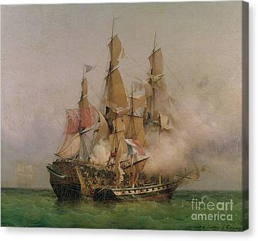 Gun Canvas Print - The Taking Of The Kent by Ambroise Louis Garneray