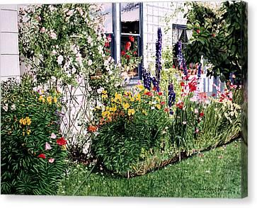 Hollyhock Canvas Print - The Tangled Garden by David Lloyd Glover