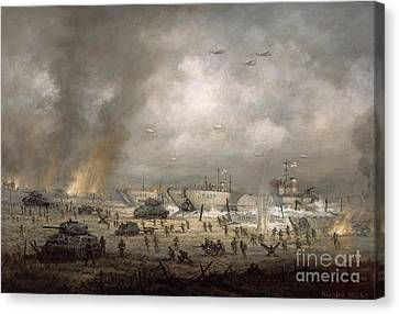 The Tanks Go In - Sword Beach  Canvas Print by Richard Willis