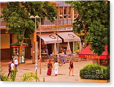 Canvas Print featuring the photograph The Tavern On The Plaza - Spain by Mary Machare