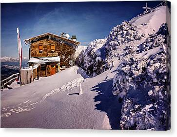 Snow-covered Landscape Canvas Print - The Tavern On Untersberg Mountain Salzburg In Winter by Carol Japp