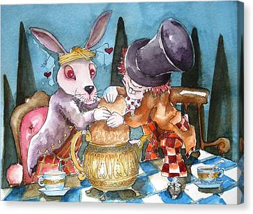Mad Hatter Canvas Print - The Tea Party by Lucia Stewart