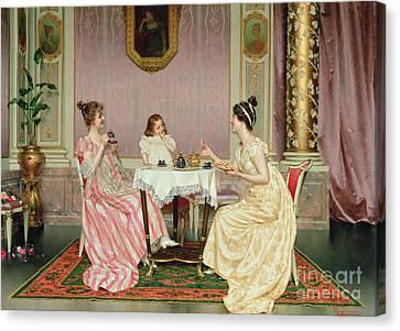 The Tea Party Canvas Print by Vittorio Reggianini