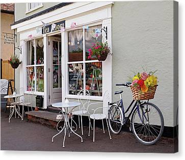 Bicycle With Flowers Canvas Print - The Tea Room by Gill Billington