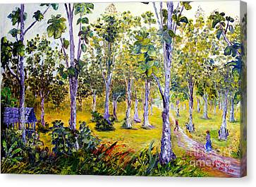 Canvas Print featuring the painting The Teak Garden by Jason Sentuf