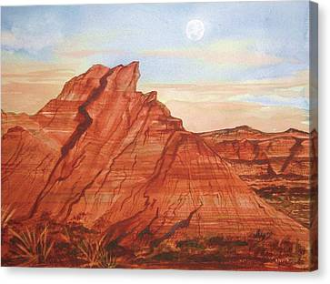 Canvas Print featuring the painting The Teepees by Ellen Levinson