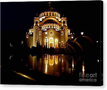 Canvas Print featuring the photograph The Temple Of Saint Sava In Belgrade  by Danica Radman