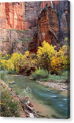 The Temple Of Sinawava In Zion National Park Canvas Print by Pierre Leclerc Photography