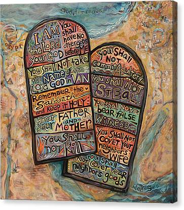 Ten Commandments Canvas Print - The Ten Commandments by Jen Norton