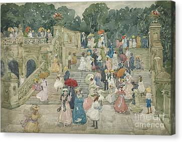 The Terrace Bridge, Central Park Canvas Print by Maurice Brazil Prendergast