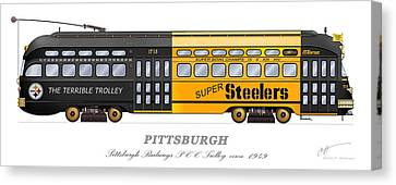 The Terrible Trolley Canvas Print by Carlos F Peterson