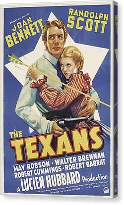 The Texans, Randolph Scott, Joan Canvas Print