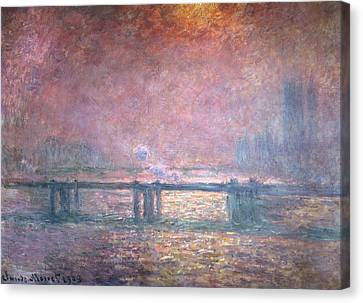 The Thames At Charing Cross Canvas Print by Claude Monet