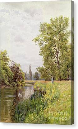 The Thames At Purley Canvas Print by William Bradley