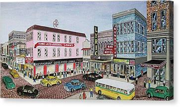 The Theater District Portsmouth Ohio 1948 Canvas Print