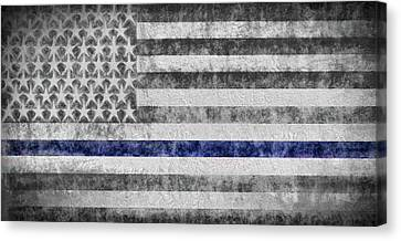 The Thin Blue Line American Flag Canvas Print by JC Findley