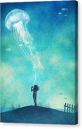 The Thing About Jellyfish Canvas Print by Eric Fan