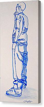 Canvas Print featuring the drawing The Thinker by Lee Nixon