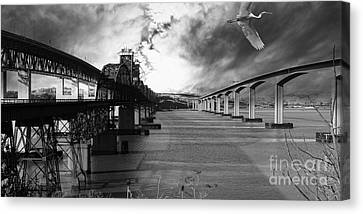 The Three Benicia-martinez Bridges . A Journey Through Time . Black And White Canvas Print by Wingsdomain Art and Photography