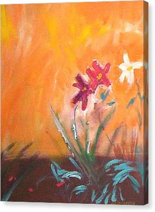 Canvas Print featuring the painting The Three Daisies by Winsome Gunning