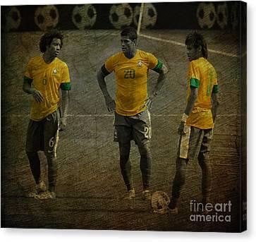 The Three Kings Marcelo Hulk Neymar Os Tres Reis  Canvas Print by Lee Dos Santos