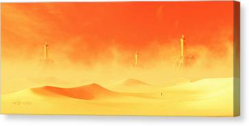 Burning Statue Canvas Print - The Three Of Cassiopeia by Artur Rosa