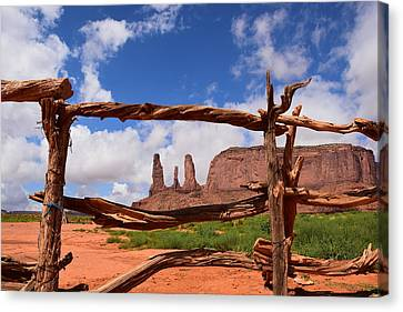 Canvas Print featuring the photograph The Three Sisters Framed - Arizona by Dany Lison