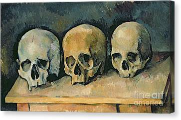 Table Canvas Print - The Three Skulls by Paul Cezanne
