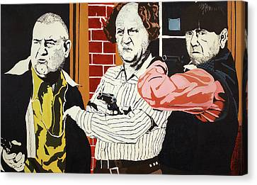 Canvas Print featuring the painting The Three Stooges by Thomas Blood