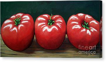The Three Tomatoes - Realistic Still Life Food Art Canvas Print