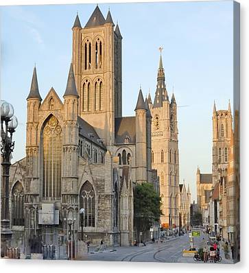 The Three Towers Of Gent Canvas Print by Marilyn Dunlap