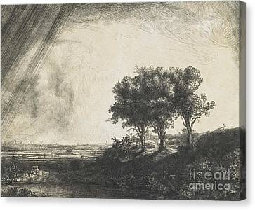 Stormy Weather Canvas Print - The Three Trees by Rembrandt