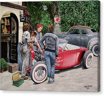 Rusted Cars Canvas Print - The Throttle Queens by Ruben Duran