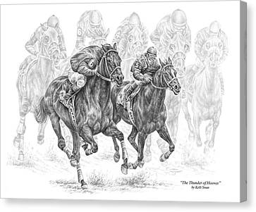 The Thunder Of Hooves - Horse Racing Print Canvas Print by Kelli Swan