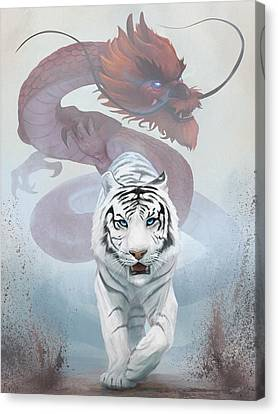 Canvas Print featuring the digital art The Tiger And The Dragon by Steve Goad