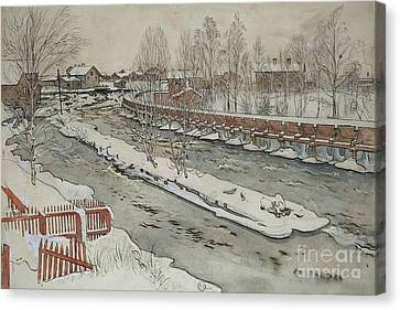 The Timber Chute, Winter Scene Canvas Print by Carl Larsson