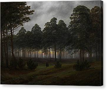 The Times Of Day - The Evening Canvas Print by Caspar David Friedrich