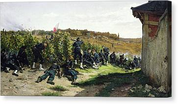 Infantryman Canvas Print - The Tirailleurs De La Seine At The Battle Of Rueil Malmaison by Etienne Prosper Berne-Bellecour