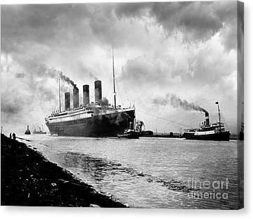 Belfast Canvas Print - The Titanic Being Towed by Jon Neidert