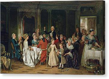 Dinner Party Invitation Canvas Print - The Toast To The Bride, 1870  by Marc Louis Benjamin Vautier