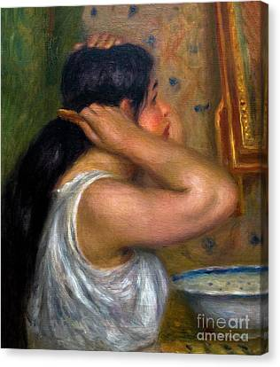 Woman Combing Her Hair Canvas Print - The Toilette, Woman Combing Her Hair, La Toilette, Femme Se Peig by Peter Barritt