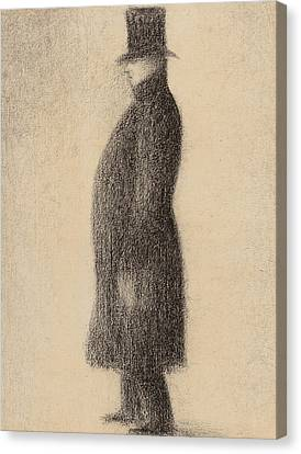 Black Top Canvas Print - The Top Hat by Georges Pierre Seurat